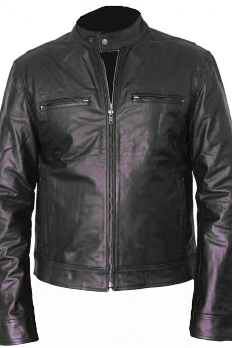 Black Leather jacket front chest zipper pockets
