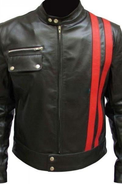 Designer Black Real Leather Biker Jacket Men's red stripes