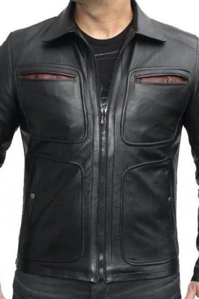 Krick Black Motor Bike Leather Jacket Mens, Men's Leather Jacket