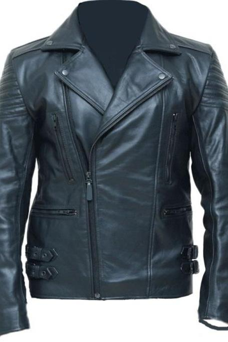 Men,s Black Biker Leather Jacket Special Limited Edition