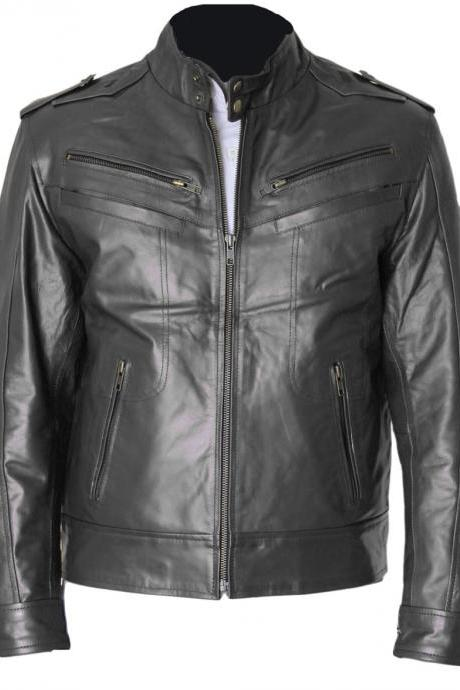 Mens Black Leather Jacket Chest Pocket Slim Fit