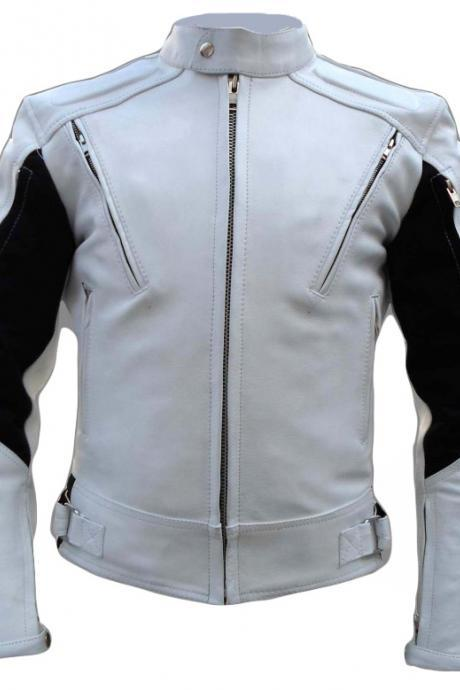 Motorcycle Top Grain Leather Jacket For Mens