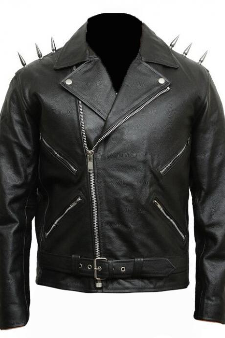 Mens Classic Leather Biker Jacket Black Studs on Shoulders For Mens