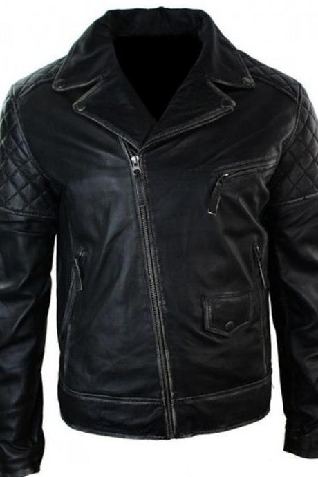 Mens Motorcycle Brando Black Bikers Punk Vintage Style Leather Jacket