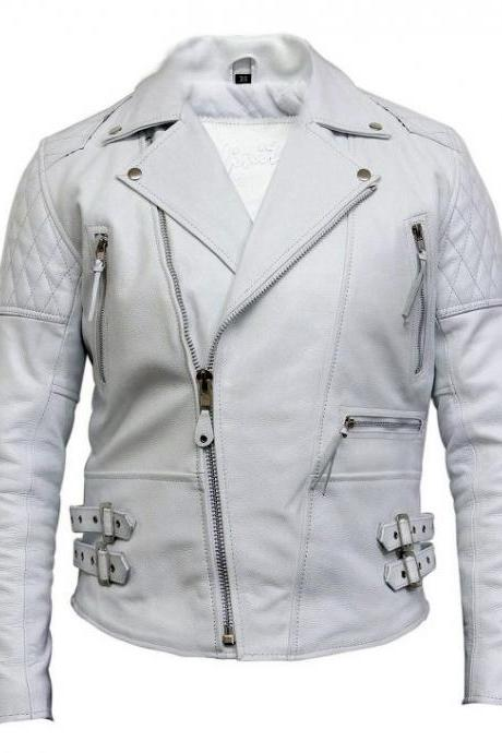Men's White Leather Biker Jacket In Soft Aniline