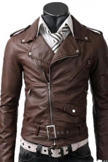 MEN,S BELTED RIDER SLIMFIT BROWN LEATHER JACKET