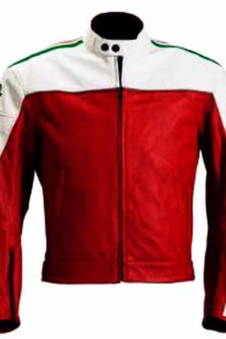 Mens Racing MV AGUSTA Brutale olimpic Motorbike Red Leather jacket