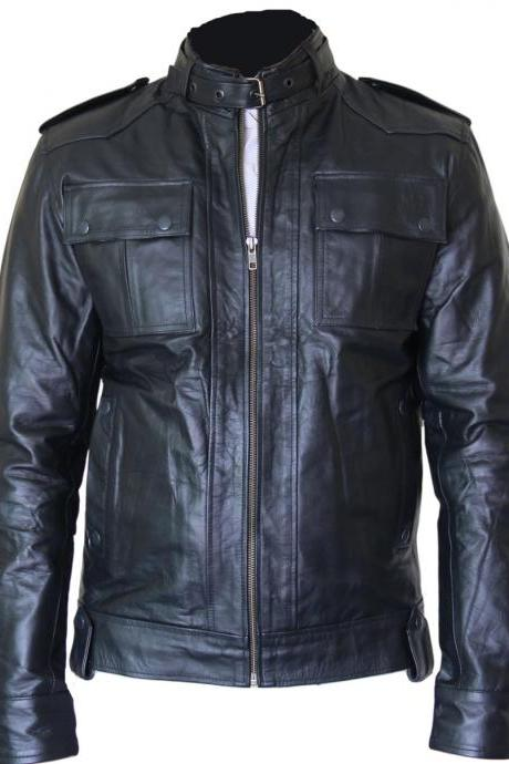Black Leather jacket front pocket button coloser