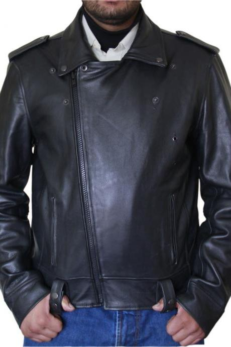 Men's Classic Black Biker Leather Jacket
