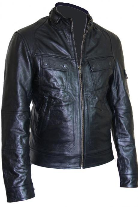Mens Black Front Flap Pocket Leather Jacket