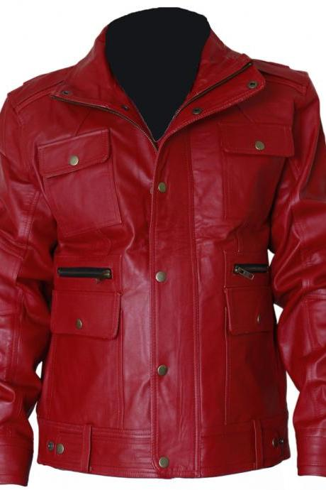 Elegant Red Womens Leather Coat