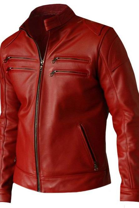 Womens Red Fashion Leather Jacket Coat
