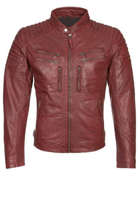 RED LEATHER JAKET BIKER LEATHER JACKET MEN'S