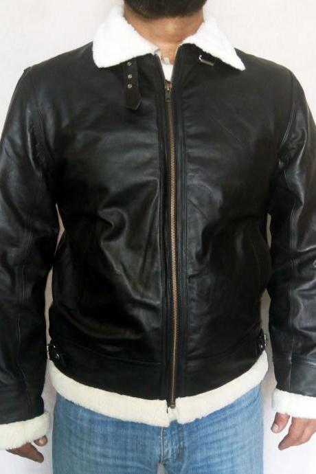 Men's Sheep Leather Bomber Jacket , Aviator Flying piolet Leather jacket