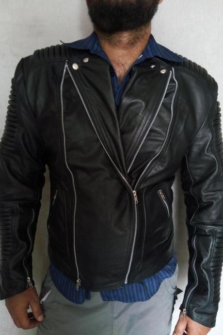 Men's Black Bailman Style Fashion Jacket, Men Black Elegant Leather jacket
