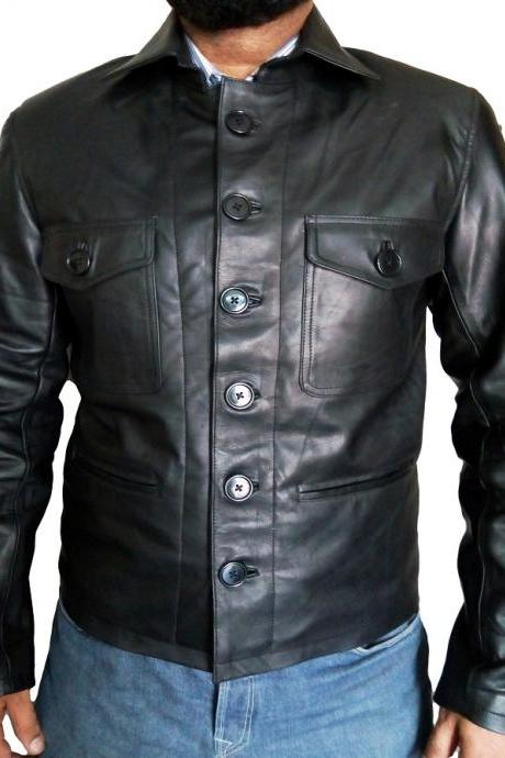 Handmade Men Button coloser fashion Leather jacket Men's Black Leather jacet