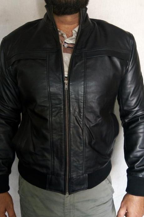 Handmade men Bomber boos Style leather jacket mens , Mens Leather jacket