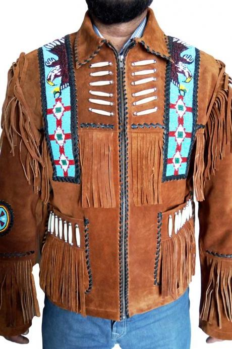 Handmade Men western Native America Suede Leather jacket Coat Beads and bones