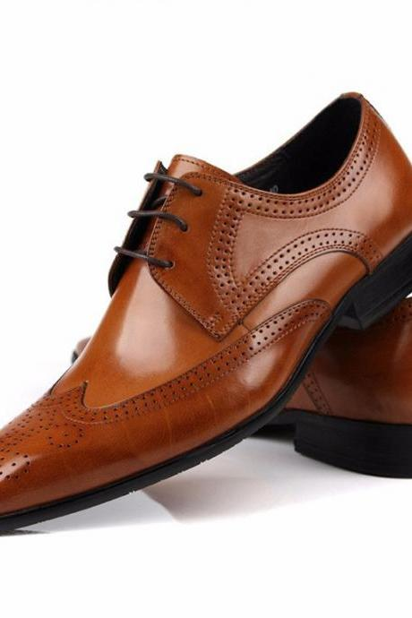 Handmade Oxford Leather wedding Shoes Tan Lacup Fashion Black business Male Dress Shoes Men