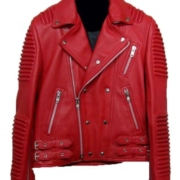LEATHER BALMAIN MOTORCYCLE MOTORBIKE JACKET , Men's Leather Jacket