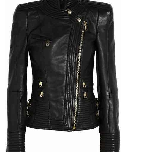BALMAIN NAPPA BLACK LEATHER PERFECTO JACKET 2016