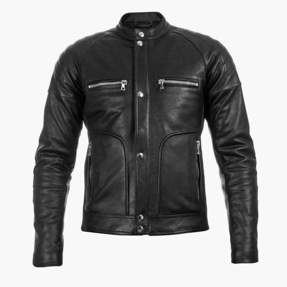 BALMAIN REGLAN SLEEVES BLACK LEATHER MOTO JACKET