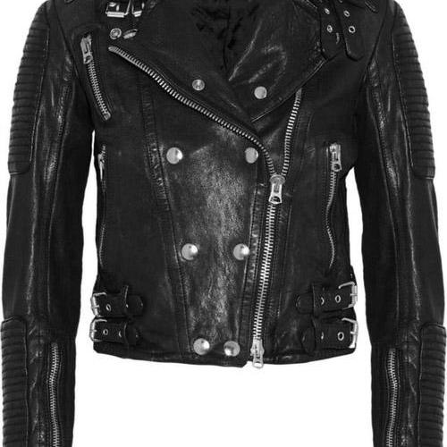 BRIT CROPPED BLACK LEATHER BIKER RACING JACKET 2016