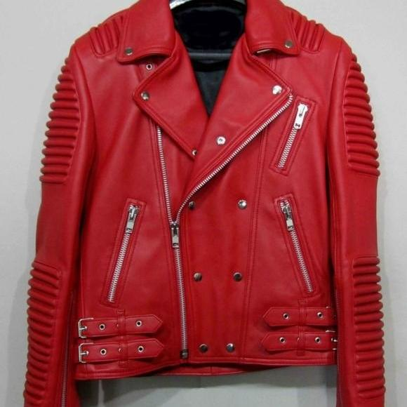 RED LEATHER BALMAIN JACKET LAMBSKIN MEN'S 2016