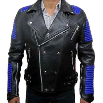 LEATHER BLACK BLUE BALMAIN JACKET LAMBSKIN MEN'S 2016