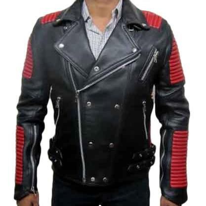 LEATHER RED BLACK BALMAIN JACKET LAMBSKIN MEN'S 2016