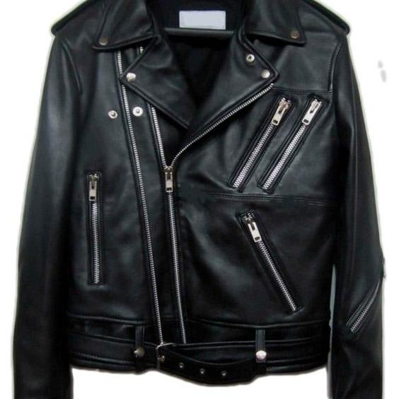 YSL CLASSIC MOTORCYCLE JACKET BLACK LEATHER MEN'S 2016
