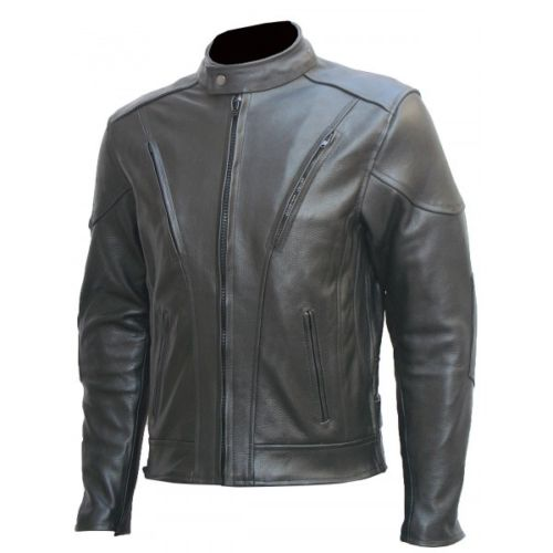 Custom Made Mens Black Armor Biker Leather Jacket, For Mens