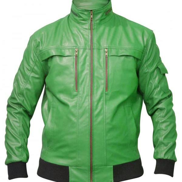 CLASSIC GREEN BOMBER BIKER LEATHER JACKET MEN'S