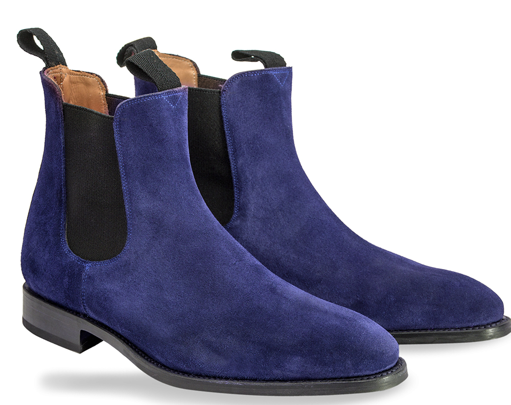 chelsea navy blue color made suede leather boots mens